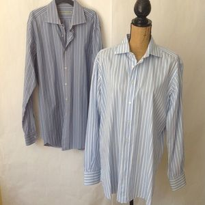 ETRO Lot 2 Blue White   Italian Cotton Shirts